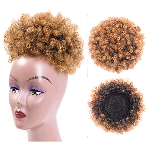 High Puff Afro Ponytail Drawstring Short Afro Kinky Curly Pony Tail Clip in on Synthetic Curly Hair Bun Made of Kanekalon Fiber Puff Ponytail Wrap Updo Hair Extensions with Clips (T1B/27)