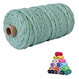 flipped 100% Natural Macrame Cotton Cord,3mm x109 Yard Twine String Cord Colored Cotton Rope Craft Cord for DIY Crafts Knitting Plant Hangers Christmas Wedding Décor (Light Green&Sage, 3mm109yards)