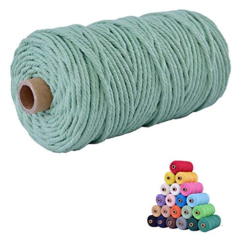 flipped 100% Natural Macrame Cotton Cord,3mm x109 Yard Twine String Cord Colored Cotton Rope Craft Cord for DIY Crafts Knitting Plant Hangers Christmas Wedding Décor (Light Green, 3mm109yards)