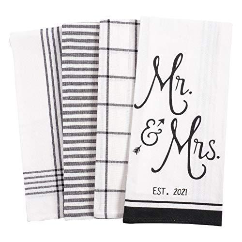 KAF Home Baker Lane Bridal Kitchen Dish Towel Set of 4, 100-Percent Cotton, 18 x 28-inch (Mr. & Mrs. Established 2021)