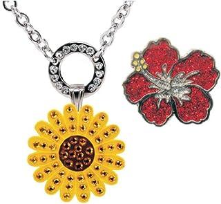 Navika - Collar magnético con Cristales de Swarovski, diseño de Girasol Amarillo y marcadores de Bola de Hibisco Rojo Brillante