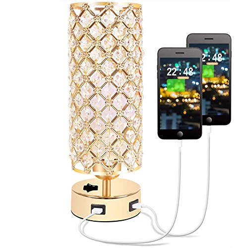 WODT Lámpara de Mesa USB de Cristal, lámpara de mesilla de Noche...