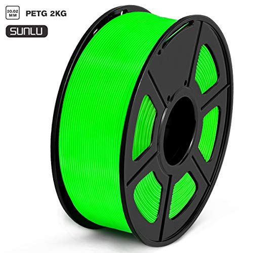 SUNLU Filamento PETG 1.75mm 1kg Impresora 3D Filamento, Precisión Dimensional +/- 0.02 mm, PETG Verde