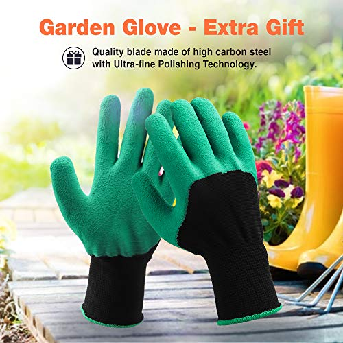 ONEBOM Garden Pruners, 3 Pack Garden Shears Cutters with Gloves, Professional Bypass Stainless Steel Heavy Duty