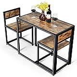 COSTWAY 3 TLG. Küchenbar, Stehtisch mit 2 Barstühlen, Küche Sitzgruppe, Essgruppe mit...