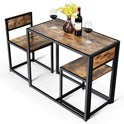 COSTWAY 3 TLG. Küchenbar, Stehtisch mit 2 Barstühlen, Küche Sitzgruppe, Essgruppe mit Metallgestell, Küchentisch aus Holz, Bartisch Set für kleine Räume, Küche, Esszimmer und Bistro (Antik)
