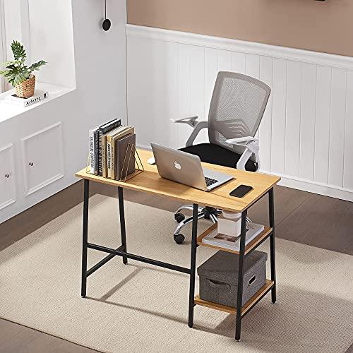 HJhomeheart Escritorio de Mesa para Computadora, Escritorio para Juegos con Estantes de Madera, Mesa de Trabajo de Estilo Industrial, Mesa de Oficina para Espacios Pequeños, 100 x 48 x 74 cm (Roble)
