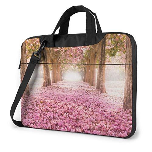 Schoudertas voor laptop roze romantische tunnel voor laptop 15,6 inch laptop hoes laptop tas met schouderriem