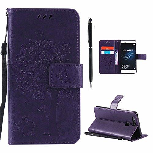 Hancda Hülle für Huawei P9 Hülle Leder Flip Case, Schutzhülle Ledertasche Handyhüllen Cover Magnet Dünn Geldbörse Taschen Stoßfest Handytasche für Huawei P9,Hülle Lila