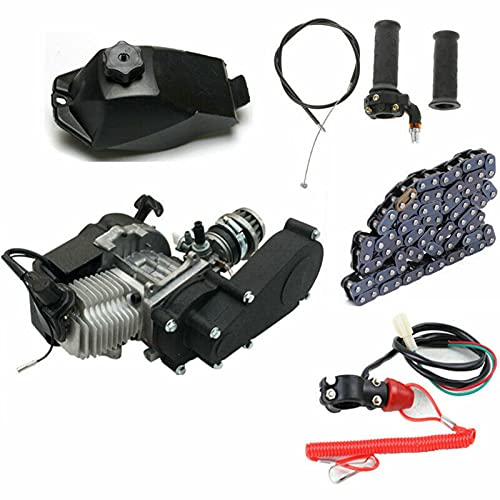 Engine Motor Gear Box, 49cc 2 Stroke Mini Motor Air-Cooled Racing Engine for Aluminum Pocket Bike Mini Off-Road Vehicle Mini Atv (Us Stock)