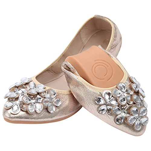 QIMAOO Women Ballet Flats Rhinestone Wedding Ballerina Shoes Foldable Sparkly Comfort Slip on Flat Shoes Gold