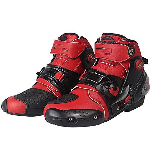 ZOULME Botas de Botella Motocicleta Ciclismo Ciclismo Zapatos de Tobillo Cortos Crash Protection Quad Trail Kart Race Sports Motorbike Boots-Rojo_42