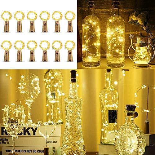 Lichterkette Korken 12 Stück, Lichterkette Flasche, 2m Mini Lichterkette Draht mit Batterie, Kurze Lichterkette, für Urlaub Deko, Party, Geschenk, Frische Blumen, Hochzeit (Warm weiß)