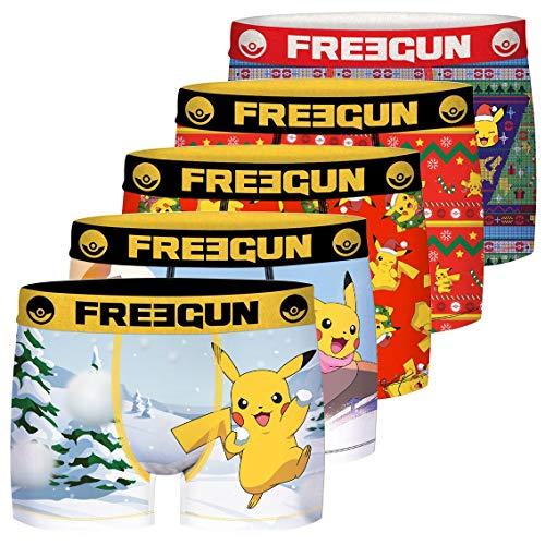 FREEGUN Jungen Lot De 3 Boxer Garcon Pokemon Unterhose, Mehrfarbig (Multicolor G1), 14-15 Jahre (Herstellergröße: 14/16) (5er Pack)