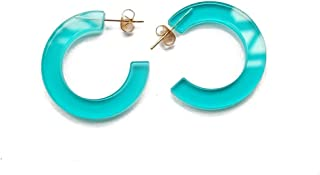 New Arrival Creative Transparent Acrylic Material Exaggerated Circular Shape Candy Colors Women/Girl's Charm Earrings Ear Studs(5cm)