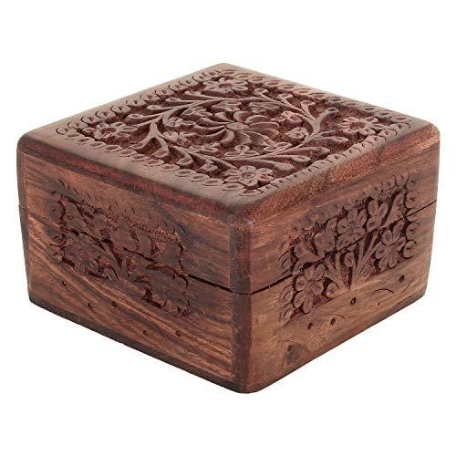 Zap Impex, scatola per gioielli indiana, in legno di palissandro intagliato a mano, 10 cm