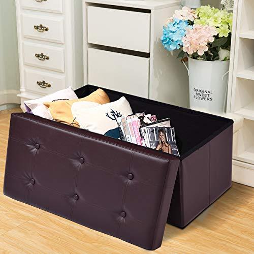 COSTWAY Sitzbank Sitzhocker Sitzbox Aufbewahrungsbox, Sitzwürfel Hocker, Polsterhocker faltbar, Truhe Bank, Sitztruhe PVC-Leder 76 x 38 x 38cm, Sitzkasten Farbwahl (Braun) - 3
