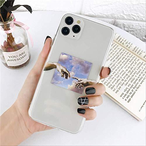 Linee artistiche Custodia con Motivo Dipinto per iPhone 11 PRO XS Max XR 6 6s 7 8 Plus 5 5S SE 2020 Cover per Telefono TPU Trasparente Coque per iPhone SE 2020 T4