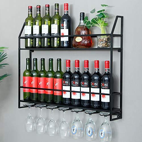 HANS CAO Industrial Wine Rack 20 Bottles Wall Mount Wine Cabinet with 7 Glasses Hook Hanging Metal Wine Rack Goblet Shelf for Home Bar Restaurant 315x47x245