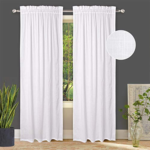 White Cotton Textured Voil Curtains - 50x96 inch,Cotton Curtains,Rod Pocket Curtains,White Cotton Curtains,White Panel Curtains,Cotton Voil Curtains, Rod Pocket top Curtains Set of 2