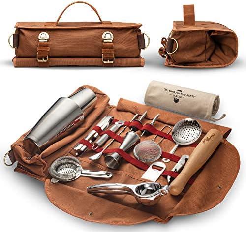 Travel Bartender Kit Bag Professional 17 piece Bar Tool Set with Stylish Portable Bar Bag and product image