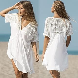 Amazones Vestidos Blanco Playa Ropa