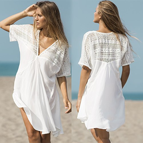 ShouYu ShouYu Das Resort Sun lose in großer Zahl aus weißer Baumwolle Strand Kleid sexy Badeanzug Bikini Cover-up Mantel Jacke, EINE GRÖSSE, Weiß