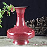 WULIAN Florero de cerámica Clásico Retro Porcelana Flor Chino Antiguo Estilo francés Adornos Color Glaseado Pollo Sangre Rojo Artesanía Hecho a Mano Clásico