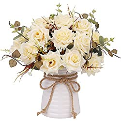 YILIYAJIA Artificial Flowers in Vase Silk Rose Arrangements Fake Faux Flowers Bouquets with Ceramics Vase Dinning Table Centerpieces Bedroom Bathroom Kitchen