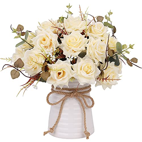 YILIYAJIA Fake Flowers in Vase Ceramics ,Artificial Flowers,Table Centerpieces...