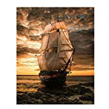 Blackbeards Pearl Pirate Ship- 8 x10' Wall Art Print- Ready To Frame. Great Mens Gift- Home Decor- Office Decor. Great for Man Cave- Rec Room-Study. Beautiful Clipper Ship & Sailing Art.