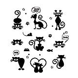 Trada 3D Wandtattoos, Schöne Katze Lichtschalter Wandaufkleber Wohnkultur Cartoon Tiere Wandtattoo Wand Kunst Kinder Zimmer Wand Dekor Wandaufkleber für Mädchen oder Baby Zimmer (Schwarz)