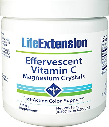 Life Extension Effervescent Vitamin C and Magnesium Crystals, 180g
