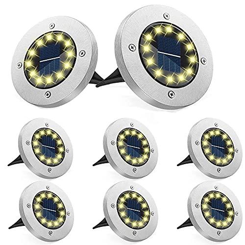 Bzavor 8er Solar Bodenleuchte Aussen, 12 LEDs Solar Leuchten Mit Upgrade Solarpanel Gartenleuchte Solarlampe Solar Strahler Deko für Rasen,Gehweg,Pool,Terrassen(WarmWeiß)