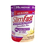 SlimFast Advanced Nutrition Vanilla Cream Smoothie Mix, Weight Loss Meal Replacement, 20g of protein, 12 servings, 11.4 Ounce Canister (79002)