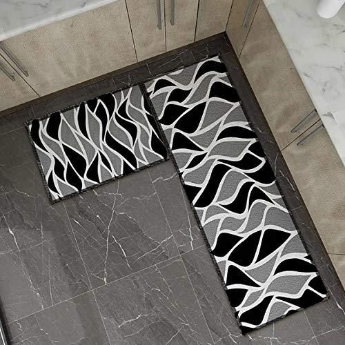 OPLJ Küchenmatte Anti-Rutsch-Türmatte Modernes Wohnzimmer Balkon Badezimmer Geometrisch bedruckter Teppich Waschbare Fußmatte A6 50x160cm