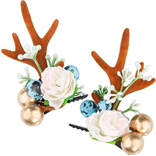 dressforfun 302793 Blumen Haarklammern REH Geweih Klammern, für Dirndl und Trachten Party, braun Rose