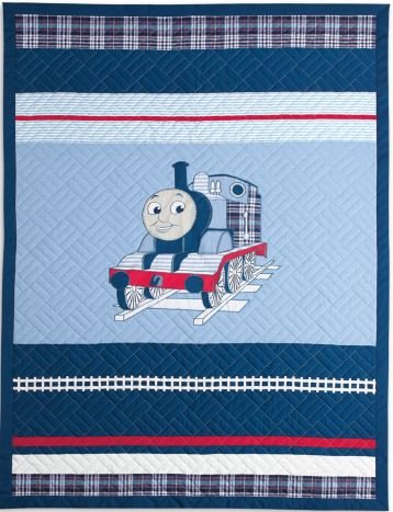 Thomas the Tank Engine Full Size Embroidered Quilt and Shams Set- Upscale Version - 100% Cotton