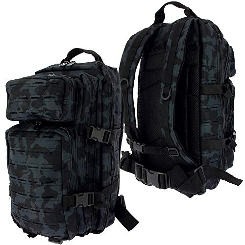 Golan 36L Assault Backpack Tactical Rucksack Laser Cut Molle Camping Travel Bag (Pick a Colour) (Black Camo)