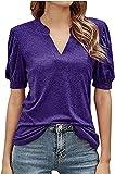 Onsoyours Camiseta de Manga Corta Mujer Blusa de con Cuello en V Sexy de Verano Camisas T-Shirt Sólido Casual Shirt Top A Púrpura XL