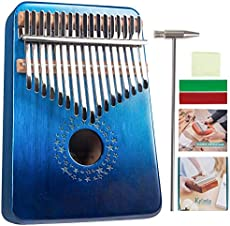 Kalimba 17 Keys Thumb Piano Musical Instrument Gradient Blue Star Sky, Mbira Hand Piano Gifts for Kids and Adults Beginners