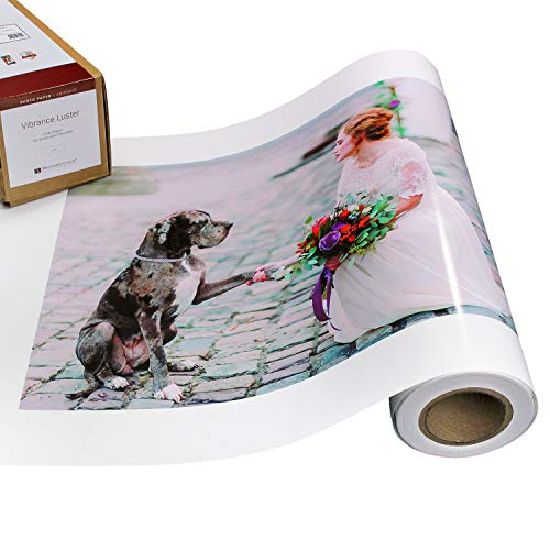 Vibrance Luster Photo Printer Paper 10 mil 255 gsm Luster Finish Premium Photo Paper Roll on 3in Core 24 inches x 100 feet Works with Most Inkjet Printers Including Professional Makes and Models