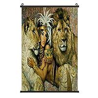 African Woman Egypt Queen And Lion 装飾画 アートモダン絵画 玄関に飾る モダンアート キャンバス絵画 壁掛け 部屋飾り
