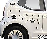 kleb-drauf® - 18 Blumen / Schwarz - matt - Aufkleber zur Dekoration von Autos, Motorrädern und allen anderen glatten Oberflächen im Außenbereich; aus 19 Farben wählbar; in matt oder glänzend