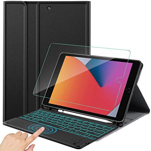 IVSO Kompatibel mit iPad 8/7(Modell 2020/2019) Beleuchtete Tastatur mit Touchpad, QWERTZ Kabellose Tastatur Hülle + Panzerglas, iPad Air 3 Tastatur, Schwarz