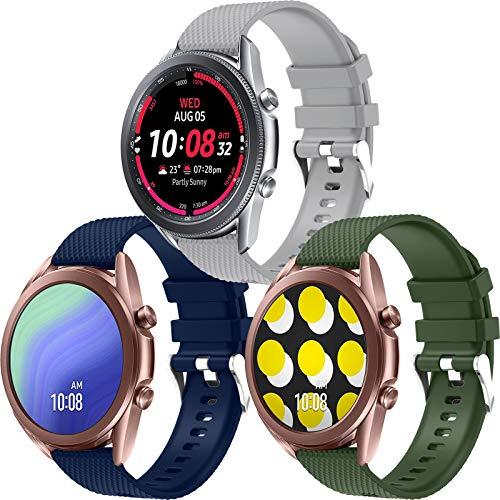 Correa Galaxy Watch Active 2 / Active 40mm 44mm, Correa de Reloj 20mm Silicona Banda de Reemplazo Pulsera Deportiva de Repuesto para Galaxy Watch 3 41mm/Galaxy Watch 42mm/Gear Sport/Gear S2