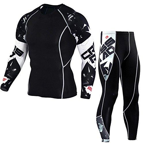 1Bests Mens Athletics Sports Compression Vêtements Serrés À Manches Longues 3D Imprime Courir Séchage Rapide Sportswear Ensembles (M, Alphabet)