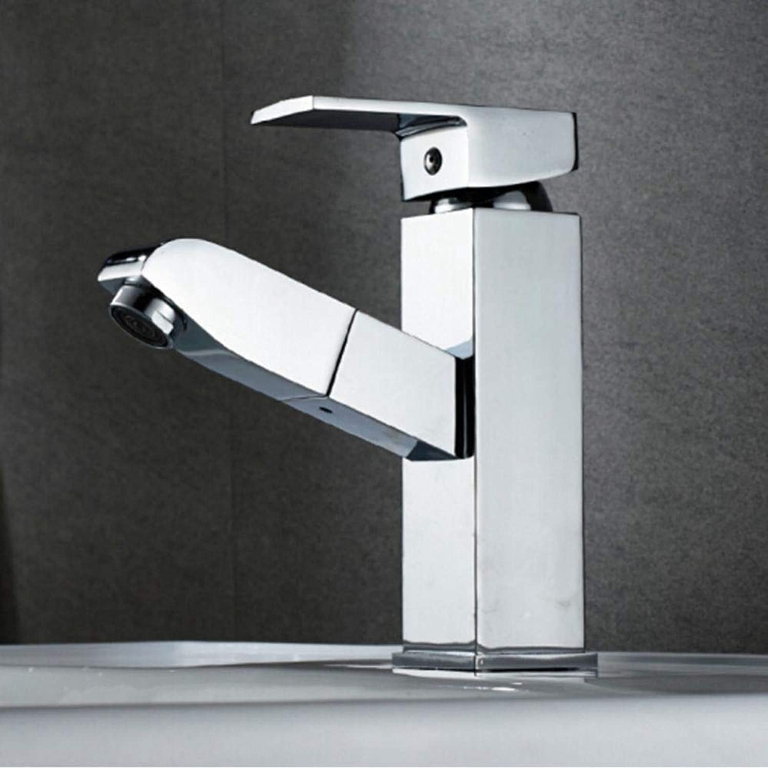 Olydmsky Kitchen tap Pull Out,All Copper Quadrilateral Pull Faucet hot and Cold Bathroom Cabinet Basin Single Cold Telescopic washbasin Faucet