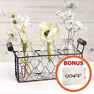 HM Homes Rustic Vases for Flowers - Milk Bottle Decor - Mason Jar Basket - Small Chicken Wire Baskets for Home Decor Wedding Celebration Etc. - 4.5 inch Tall