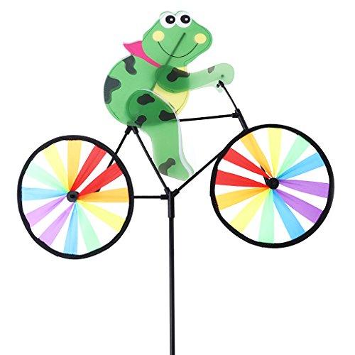 Wiffe Moulin à vent avec motif d'animal mignon en 3D sur vélo - Décoration de pelouse/jardin #1 multicolore